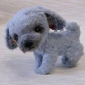 Куклы и игрушки ручной работы. Ярмарка Мастеров - ручная работа Голубой щенок 10 см. Handmade.