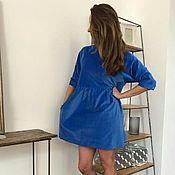 Одежда ручной работы. Ярмарка Мастеров - ручная работа Платье из голубого бархата. Handmade.