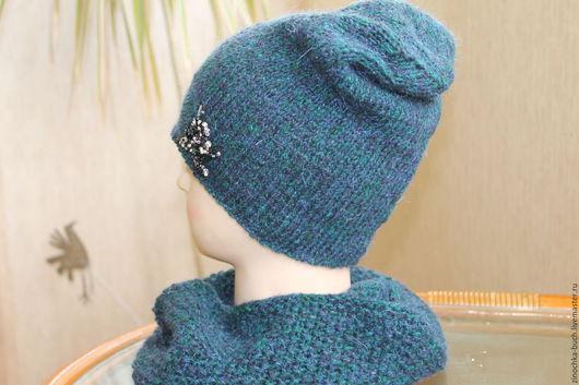 Шапки ручной работы. Ярмарка Мастеров - ручная работа. Купить шапка вязаная женская зимняя со снудом, комплект шапка и шарф. Handmade.
