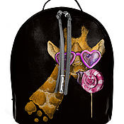 Рюкзак женский кожаный с ручной росписью из кожи Жираф.