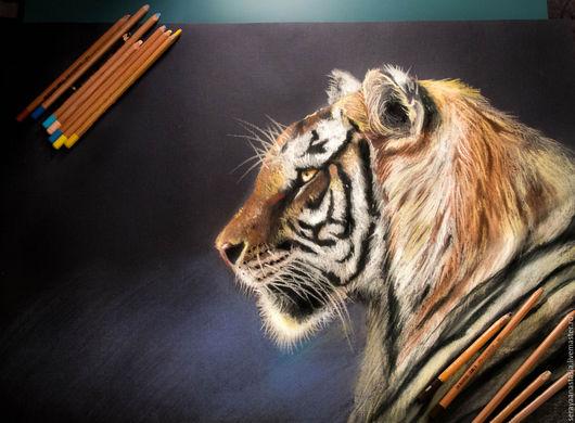 """Животные ручной работы. Ярмарка Мастеров - ручная работа. Купить Картина пастелью """"Тигр"""". Handmade. Комбинированный, тигр, животные"""