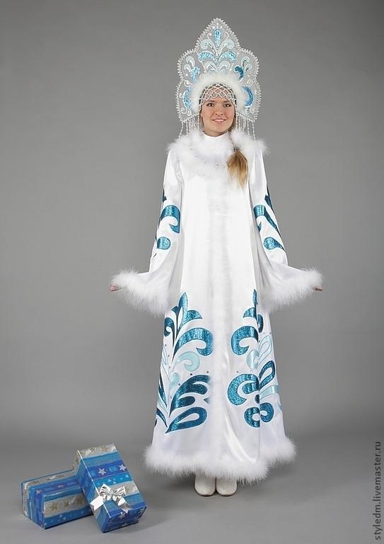 """Купить Костюм Снегурочки """"Сказочная"""" - орнамент, белый ... - photo#26"""