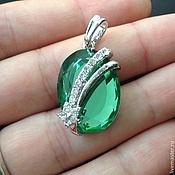 Материалы для творчества handmade. Livemaster - original item Pendant art. 7-53A with green crystal. Italy. Handmade.