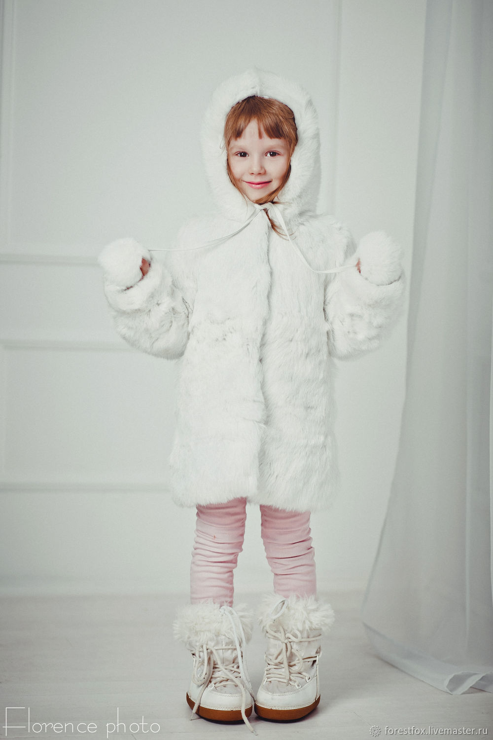 Rabbit fur kids jacket in white, Childrens outerwears, Moscow,  Фото №1
