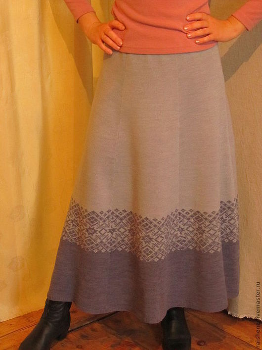 Юбки ручной работы. Ярмарка Мастеров - ручная работа. Купить юбка вязанная с каймой. Handmade. Серый, юбка теплая
