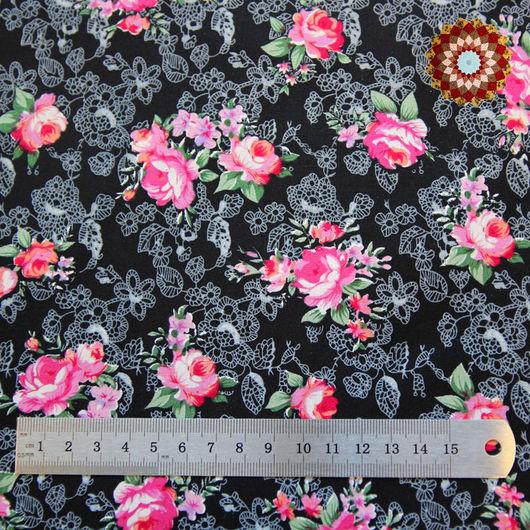 Ткань хлопок `Роза Моника чёрный`. Код товара: ZT-00031