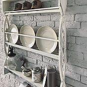 Полки ручной работы. Ярмарка Мастеров - ручная работа Полка для тарелок в стиле состаренное дерево. Handmade.