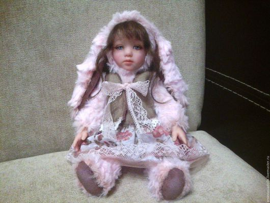 Коллекционные куклы ручной работы. Ярмарка Мастеров - ручная работа. Купить Тедди-долл Зайка. Handmade. Розовый, тедди-долл
