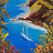 """Картины и панно ручной работы. Ярмарка Мастеров - ручная работа Картина """"Вид на море"""" (масло, холст). Handmade."""