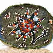 Посуда handmade. Livemaster - original item Ceramic panel or dish Exotic flower on a green background. Handmade.