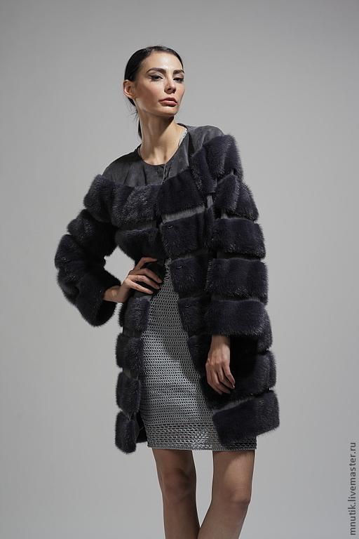 Верхняя одежда ручной работы. Ярмарка Мастеров - ручная работа. Купить Норковое пальто. Handmade. Темно-серый