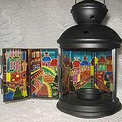 Потолочные и подвесные светильники ручной работы. Ярмарка Мастеров - ручная работа Витражный фонарик Городок Роспись по стеклу. Handmade.