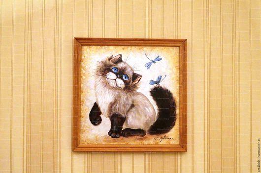 """Животные ручной работы. Ярмарка Мастеров - ручная работа. Купить """"Котик со стрекозами"""" картина. Handmade. Бежевый, коты и кошки"""