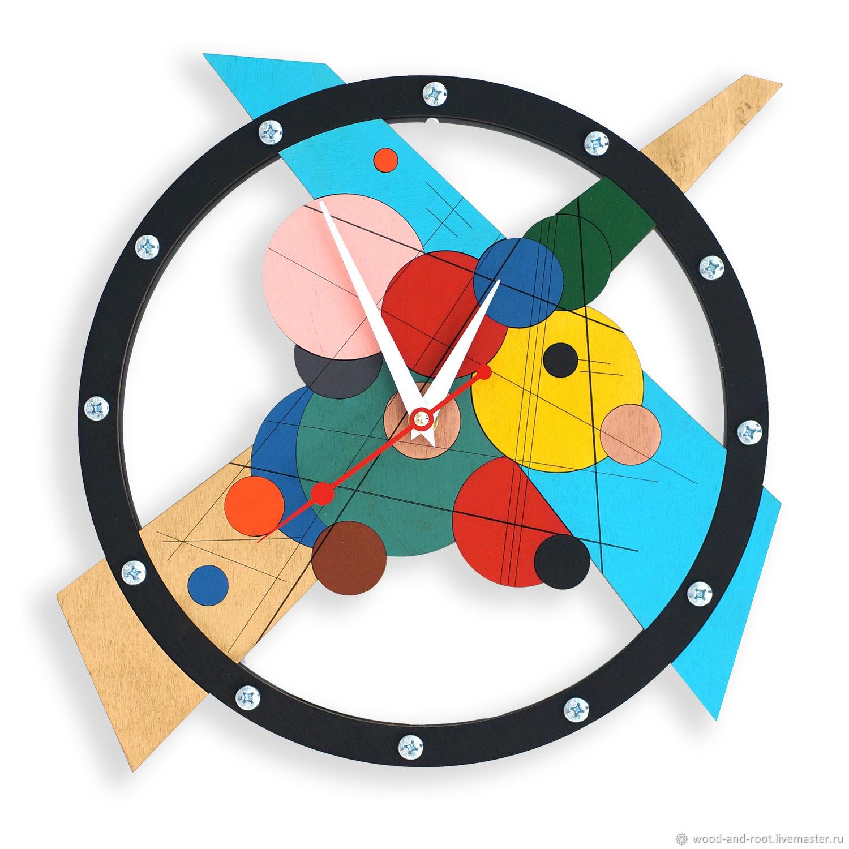 Часы для дома ручной работы. Ярмарка Мастеров - ручная работа. Купить Часы настенные Композиция #1. Handmade. Живопись, кандинский