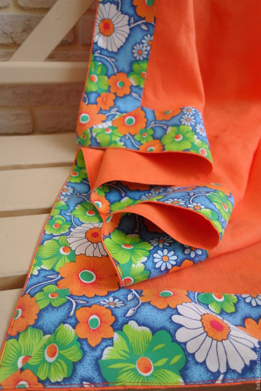 Текстиль, ковры ручной работы. Ярмарка Мастеров - ручная работа. Купить Скатерть льняная с отделкой. Handmade. Скатерть, оранжевый, хлопок