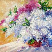 Картины и панно handmade. Livemaster - original item Lilac bouquet in glass vase oil painting on canvas The Lilac Morning. Handmade.