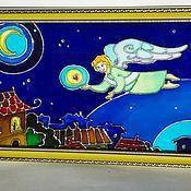 Картины и панно ручной работы. Ярмарка Мастеров - ручная работа Роспись по стеклу. Над городом.. Handmade.