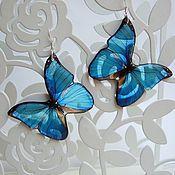 Украшения handmade. Livemaster - original item Earrings Transparent Blue Blue Butterfly Ice Snow Cold. Handmade.