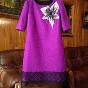 Одежда ручной работы. Ярмарка Мастеров - ручная работа Лиловое платье из войлока, с кружевом. Handmade.