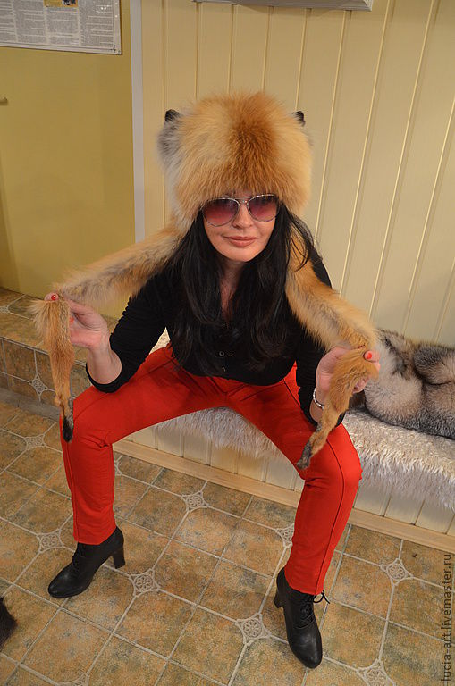 Fur hat with Fox ears, Hat with ear flaps, Moscow,  Фото №1