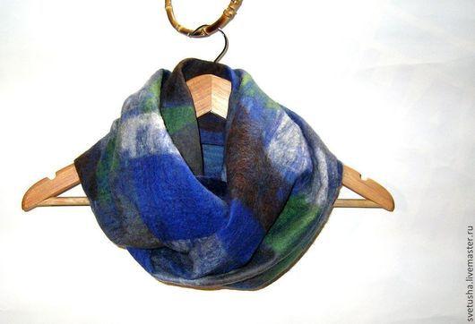 """Шарфы и шарфики ручной работы. Ярмарка Мастеров - ручная работа. Купить Снуд мужской валяный шарф унисекс """"Color blok2"""" мужской войлочный шарф. Handmade."""