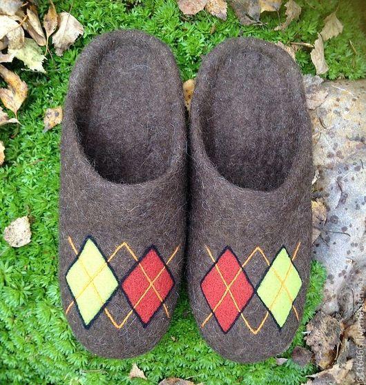 Обувь ручной работы. Ярмарка Мастеров - ручная работа. Купить домашние валяные тапочки-шлепки из натуральной шерсти Ромбы-шлепки. Handmade.