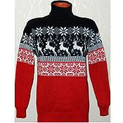 Одежда handmade. Livemaster - original item Sweater with reindeer and Norwegian ornament knitted Red and black. Handmade.