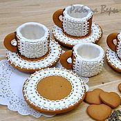 Сувениры и подарки ручной работы. Ярмарка Мастеров - ручная работа Кружевные пряничные чашечки для кофе или чая с блюдцами. Handmade.