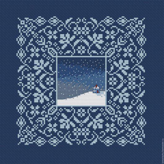 """Вышивка ручной работы. Ярмарка Мастеров - ручная работа. Купить Схема для вышивания крестом """"Зима"""". Handmade. Схема для вышивки"""