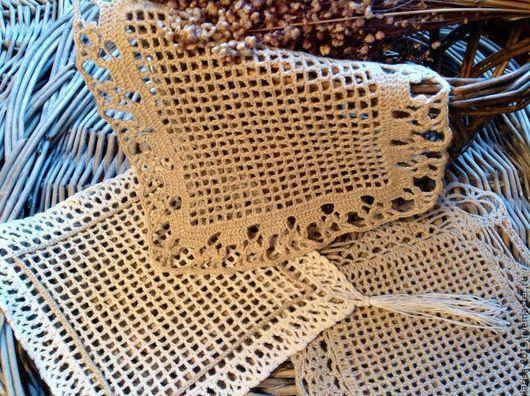 Текстиль, ковры ручной работы. Ярмарка Мастеров - ручная работа. Купить Филейные салфетки. Handmade. Бежевый, лен