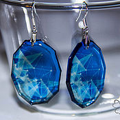 Украшения handmade. Livemaster - original item Transparent blue geometry earrings. Handmade.
