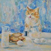 Картины и панно ручной работы. Ярмарка Мастеров - ручная работа Картина. Любопытный кот и завтрак.. Handmade.