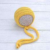 Работы для детей, ручной работы. Ярмарка Мастеров - ручная работа Шапочка для новорожденных из хлопка желтая. Handmade.