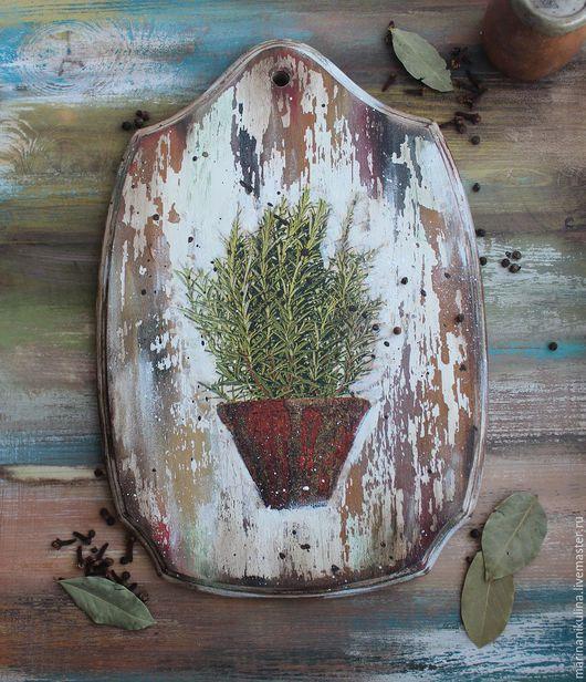 """Кухня ручной работы. Ярмарка Мастеров - ручная работа. Купить """"Rosemary"""" доска для кухни. Handmade. Оливковый, травы прованса"""