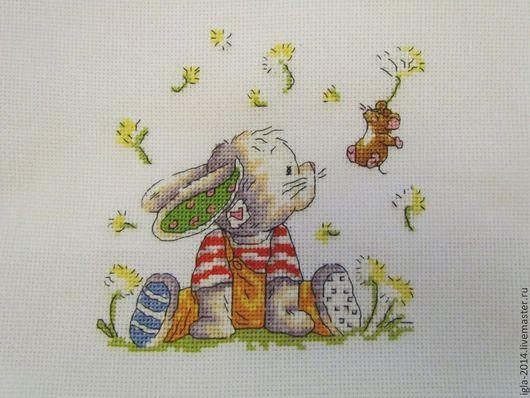 Животные ручной работы. Ярмарка Мастеров - ручная работа. Купить Вышивка Зайка Bunny. Handmade. Вышивка крестом, ручная работа