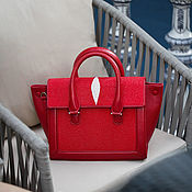 Сумки и аксессуары handmade. Livemaster - original item Red bag made of premium sea Stingray leather. Handmade.