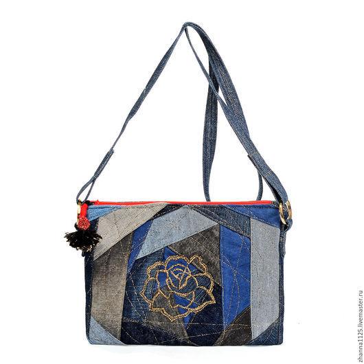 Сумка ручной работы. Купить джинсовую сумку с вышивкой `Роза`, джинсовая сумка, маленькая сумка, бохо сумка, handmade, сумка через плечо, женская сумка, сумка с в автор Zhanna Petrakova Atelier Moscow