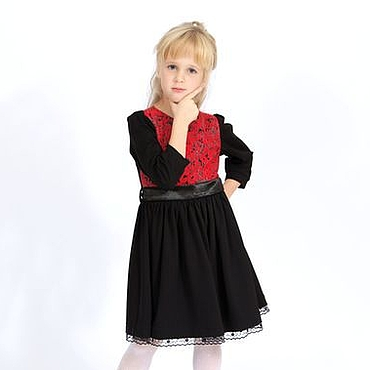 Работы для детей, ручной работы. Ярмарка Мастеров - ручная работа Платье для девочки черно-красное из жаккарда и джерси с рукавом 3/4. Handmade.
