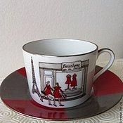 """Посуда ручной работы. Ярмарка Мастеров - ручная работа Чайная пара """"В Париже"""". Handmade."""