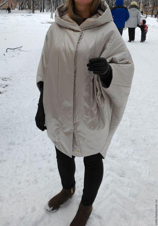 """Верхняя одежда ручной работы. Ярмарка Мастеров - ручная работа. Купить Пальто  """"Кокон"""" цвет жемчуг. Handmade. Бежевый, шёлк"""