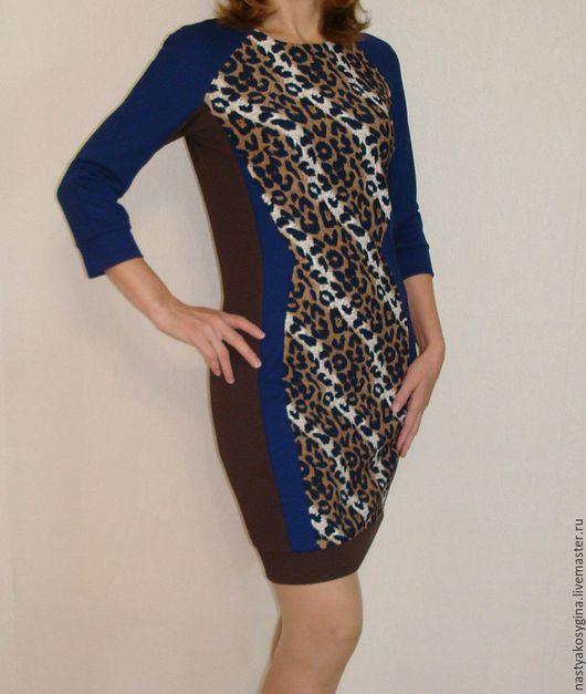 """Платья ручной работы. Ярмарка Мастеров - ручная работа. Купить Платье """" Леопардовое"""". Handmade. Тёмно-синий, модная одежда"""