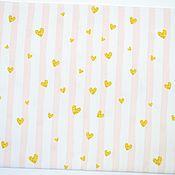 239 Золотые сердечки на розовых полосочках (Польша премиум