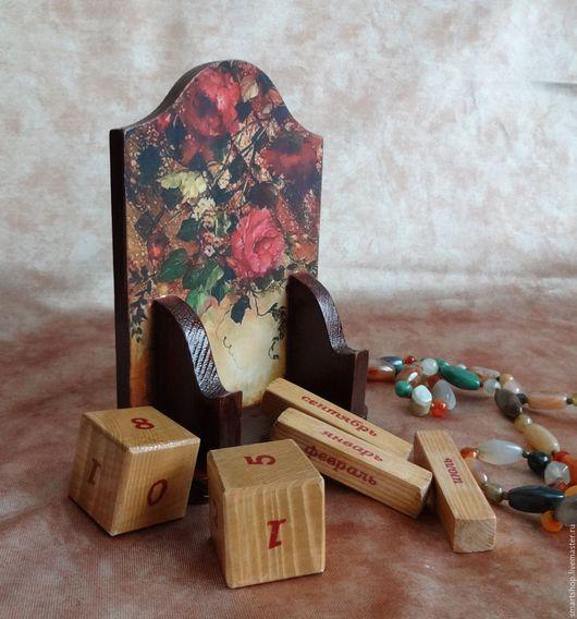 Комплекты аксессуаров ручной работы. Ярмарка Мастеров - ручная работа. Купить Вечный календарь Вьющиеся розы. Handmade. Декупаж, коричневый