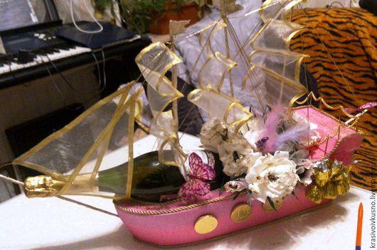 Персональные подарки ручной работы. Ярмарка Мастеров - ручная работа. Купить Корабль с шампанским и конфетами. Handmade. Белый, повод, розовый