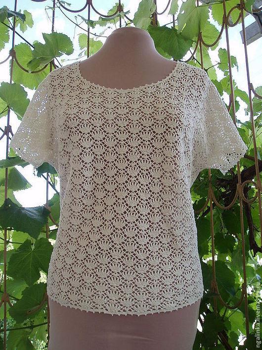 Кофты и свитера ручной работы. Ярмарка Мастеров - ручная работа. Купить блузка из хлопка Нежные цветы. Handmade. Белый