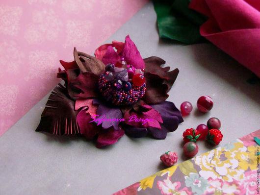 Броши ручной работы. Ярмарка Мастеров - ручная работа. Купить Mulberry Mood. Handmade. Брусничный, ягодный цвет, купить подарок