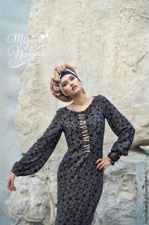 Платья ручной работы. Ярмарка Мастеров - ручная работа. Купить Этно-платье макси. Handmade. Тёмно-синий, платье, штапель