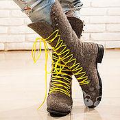 """Обувь ручной работы. Ярмарка Мастеров - ручная работа Валенки женские  """"Ушастый камень"""" серый валенки шерсть. Handmade."""