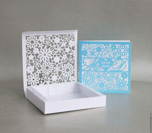"""Свадебные открытки ручной работы. Ярмарка Мастеров - ручная работа. Купить """"Цветы"""" коробочки для приглашений. Handmade. Комбинированный, бумага для скрапбукинга"""