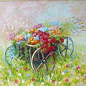 """Картины и панно ручной работы. Ярмарка Мастеров - ручная работа Картина  """"Тележка счастья"""". Handmade."""